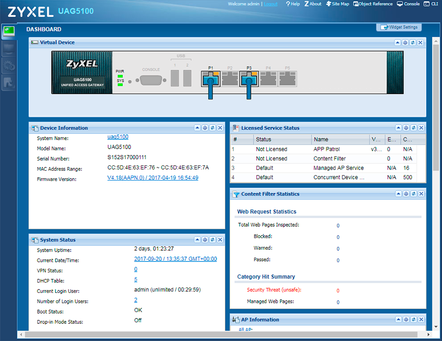Шлюз доступа Zyxel UAG - Wireless Network Access Manager